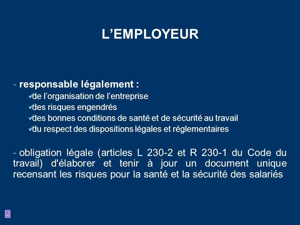 LEMPLOYEUR - responsable légalement : de lorganisation de lentreprise des risques engendrés des bonnes conditions de santé et de sécurité au travail d