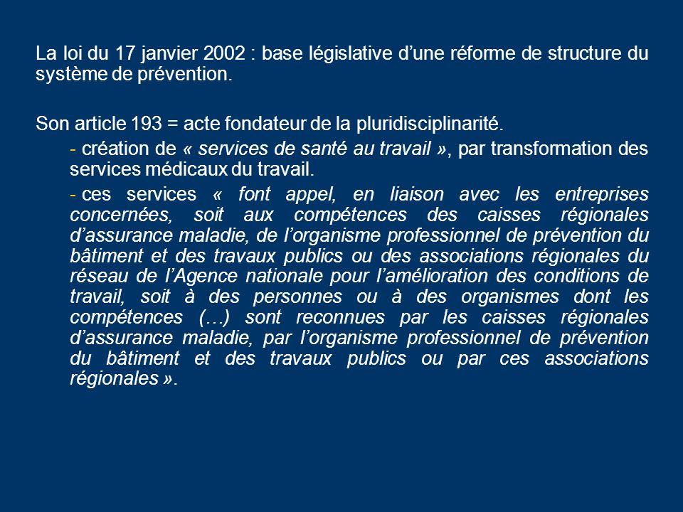 La loi du 17 janvier 2002 : base législative dune réforme de structure du système de prévention. Son article 193 = acte fondateur de la pluridisciplin