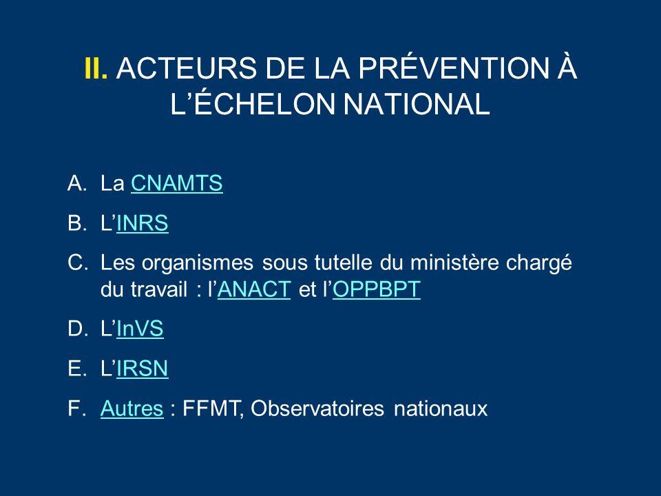 II. ACTEURS DE LA PRÉVENTION À LÉCHELON NATIONAL A.La CNAMTSCNAMTS B.LINRSINRS C.Les organismes sous tutelle du ministère chargé du travail : lANACT e