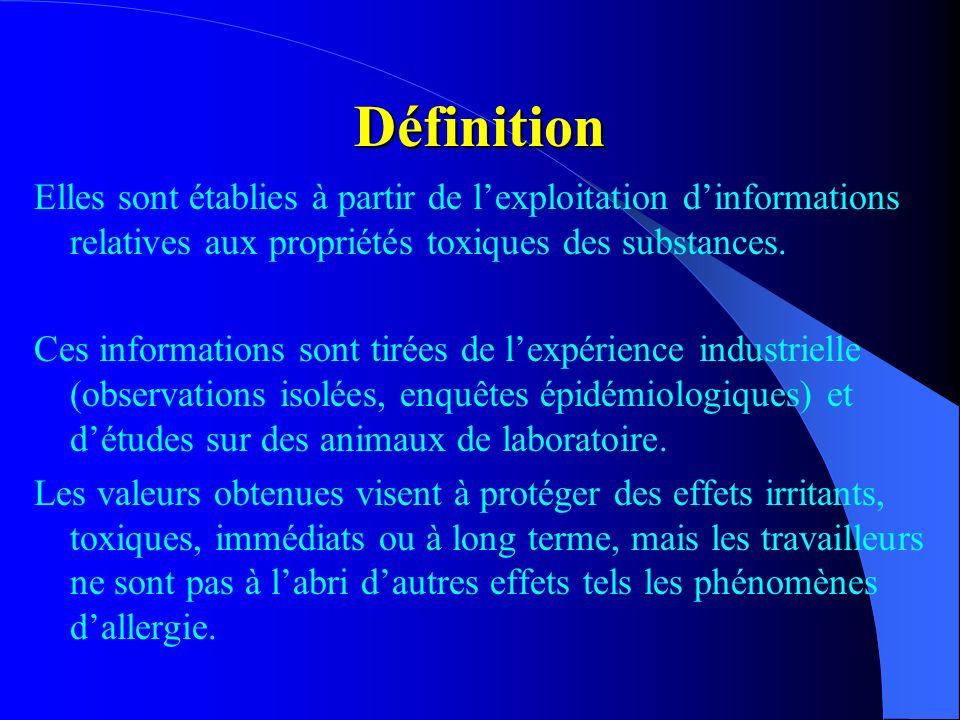 Définition Elles sont établies à partir de lexploitation dinformations relatives aux propriétés toxiques des substances. Ces informations sont tirées