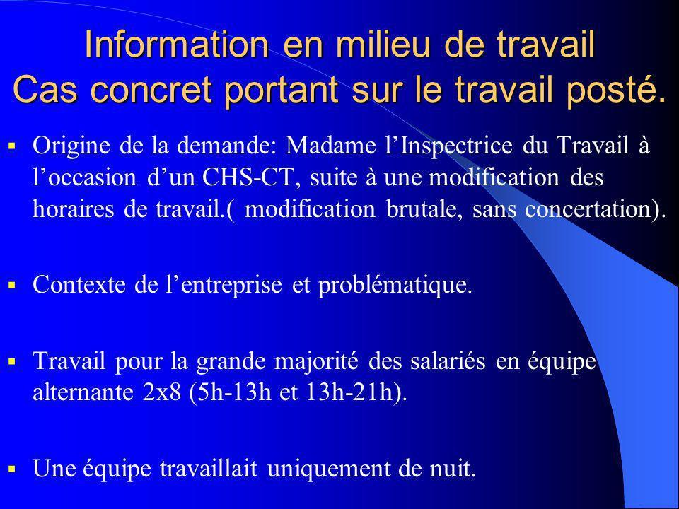 Information en milieu de travail Cas concret portant sur le travail posté.