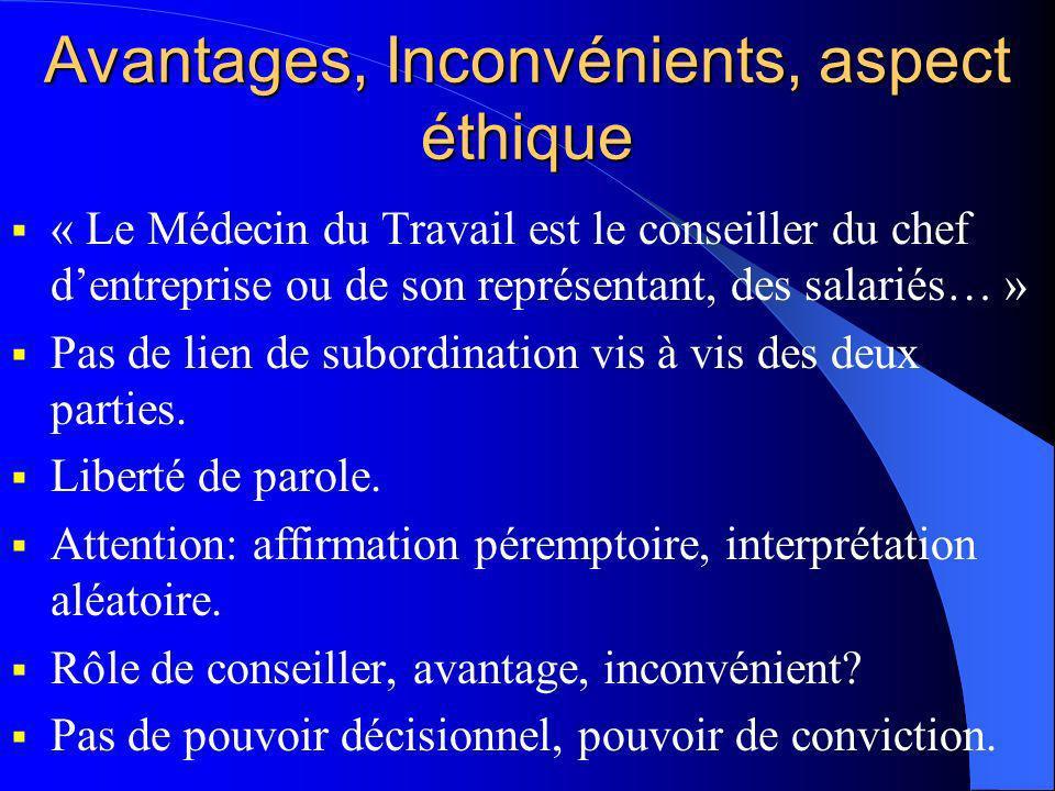 Avantages, Inconvénients, aspect éthique « Le Médecin du Travail est le conseiller du chef dentreprise ou de son représentant, des salariés… » Pas de