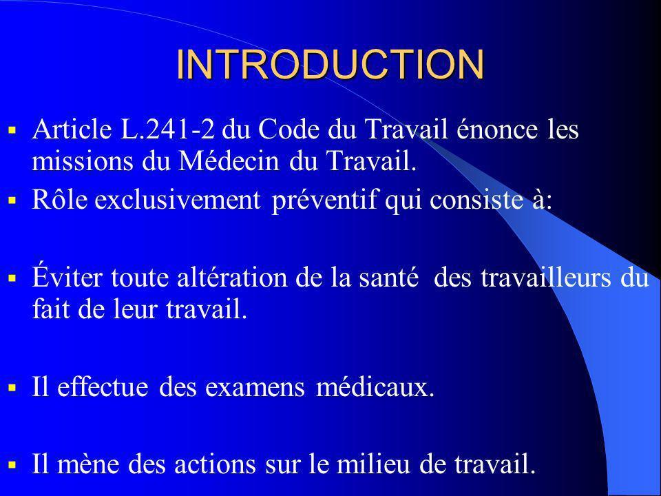 INTRODUCTION Article L.241-2 du Code du Travail énonce les missions du Médecin du Travail. Rôle exclusivement préventif qui consiste à: Éviter toute a
