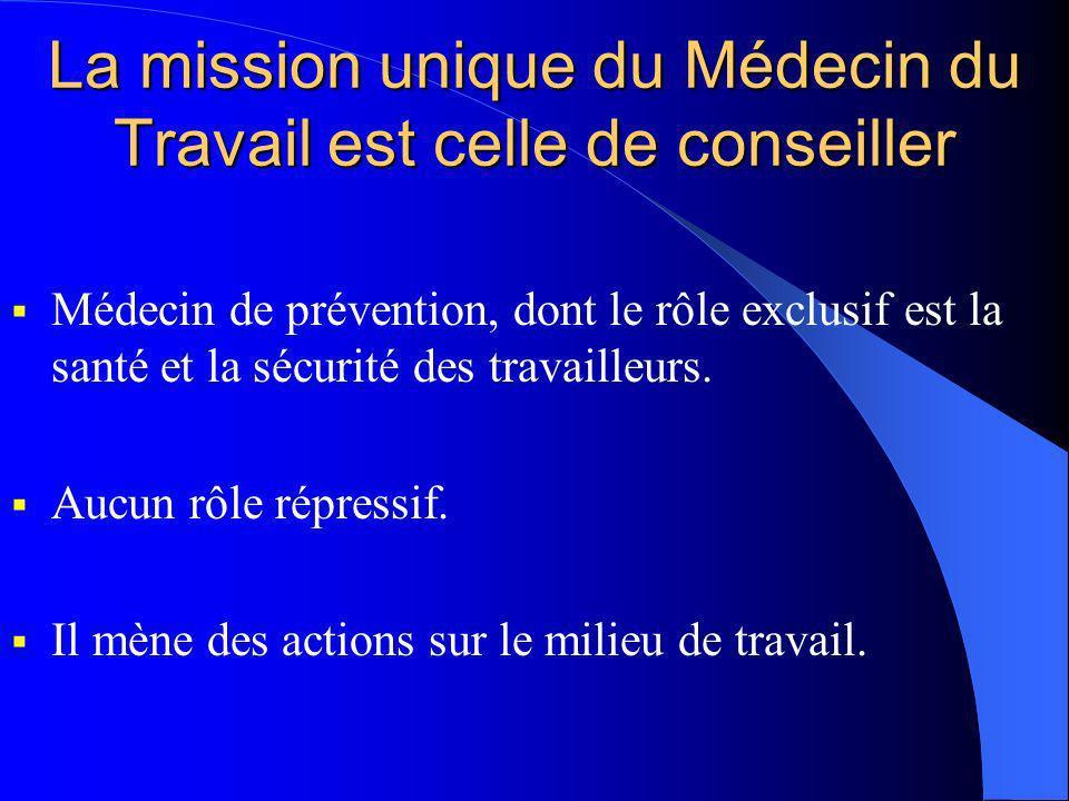 La mission unique du Médecin du Travail est celle de conseiller Médecin de prévention, dont le rôle exclusif est la santé et la sécurité des travaille
