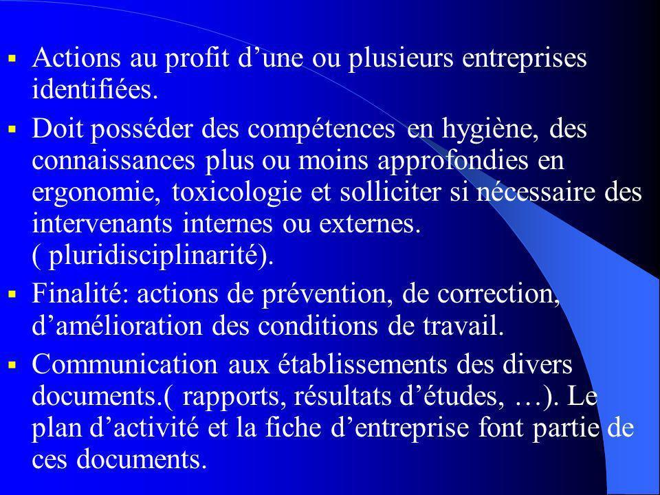 Actions au profit dune ou plusieurs entreprises identifiées.