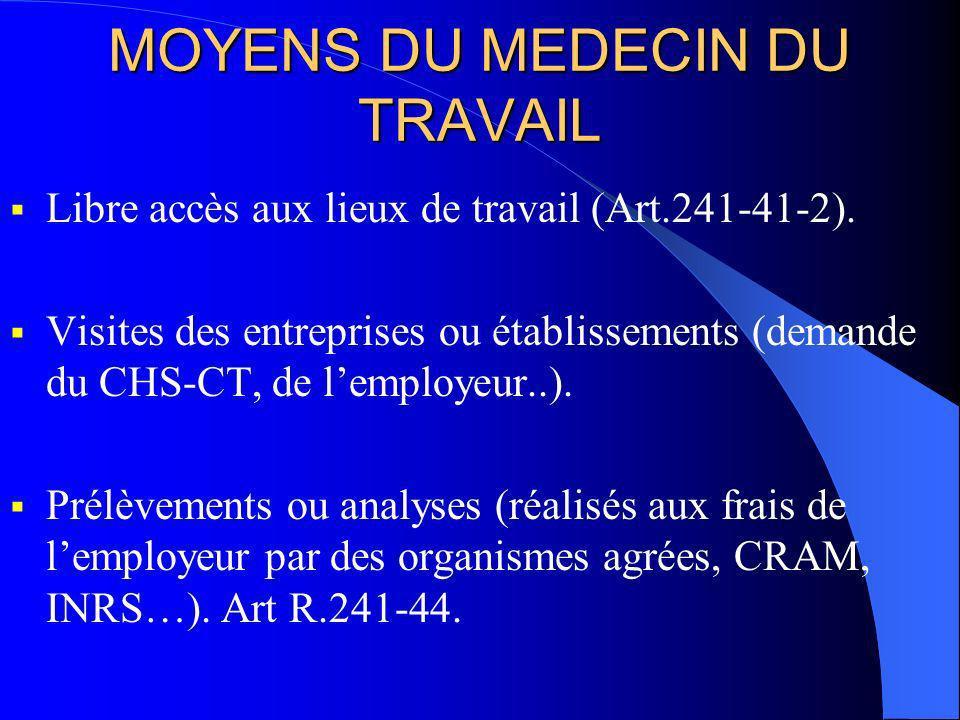 MOYENS DU MEDECIN DU TRAVAIL Libre accès aux lieux de travail (Art.241-41-2). Visites des entreprises ou établissements (demande du CHS-CT, de lemploy