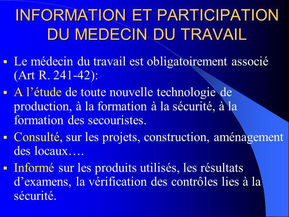 INFORMATION ET PARTICIPATION DU MEDECIN DU TRAVAIL Le médecin du travail est obligatoirement associé (Art R.