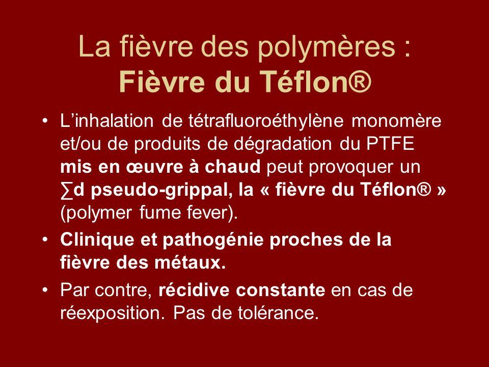 La fièvre des polymères : Fièvre du Téflon® Linhalation de tétrafluoroéthylène monomère et/ou de produits de dégradation du PTFE mis en œuvre à chaud