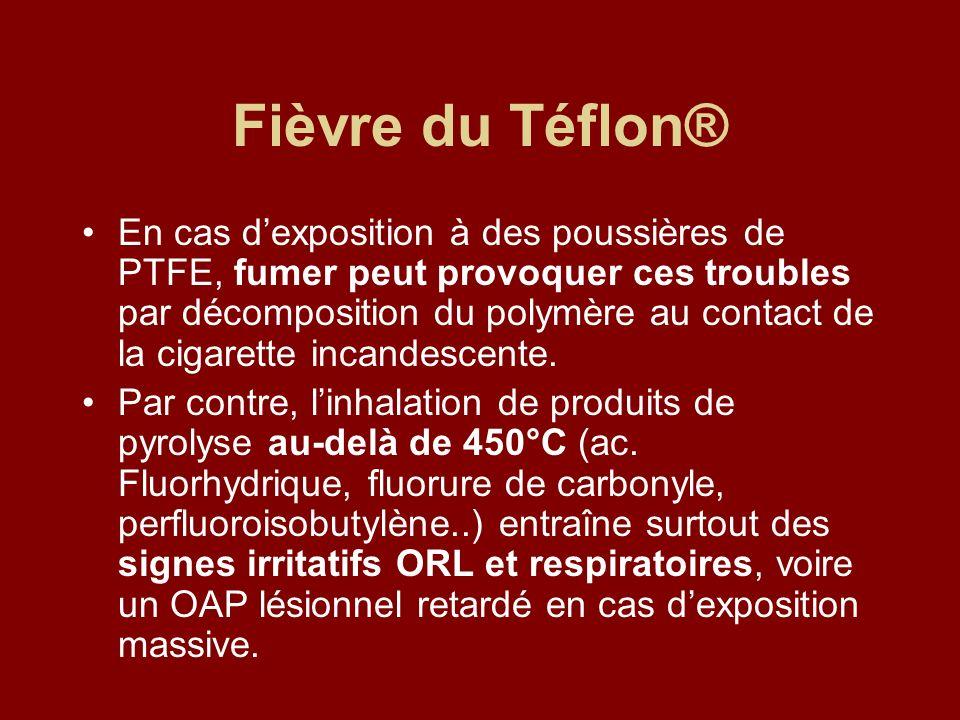 Fièvre du Téflon® En cas dexposition à des poussières de PTFE, fumer peut provoquer ces troubles par décomposition du polymère au contact de la cigare