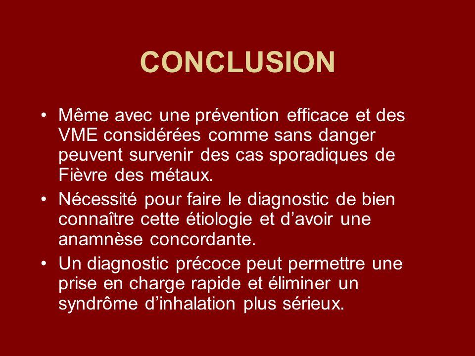 CONCLUSION Même avec une prévention efficace et des VME considérées comme sans danger peuvent survenir des cas sporadiques de Fièvre des métaux. Néces