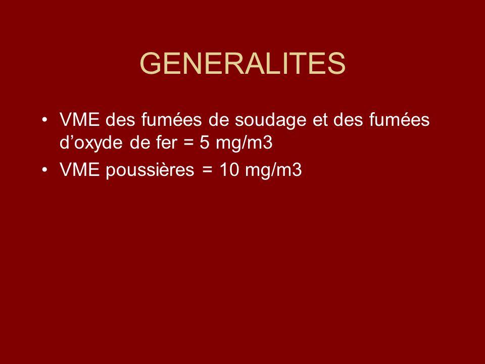 GENERALITES VME des fumées de soudage et des fumées doxyde de fer = 5 mg/m3 VME poussières = 10 mg/m3