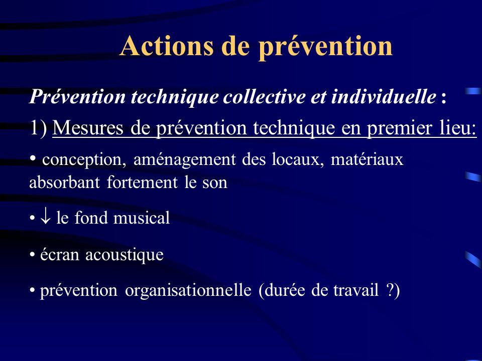 Actions de prévention Prévention technique collective et individuelle : 1) Mesures de prévention technique en premier lieu: conception, aménagement de