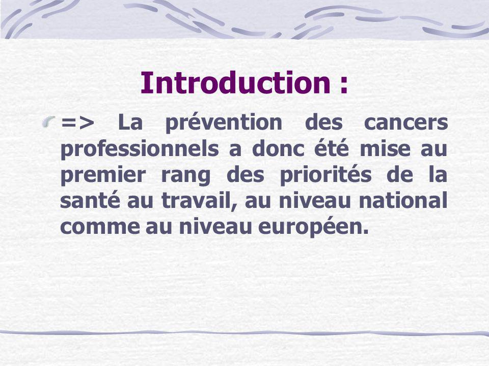 I- Classification Européenne : Elle est introduite par le décret du 22/07/2004 dans larticle R231-51, qui définit et classifie en 3 catégories les agents CMR : Cancérogènes Mutagènes Toxiques pour la reproduction