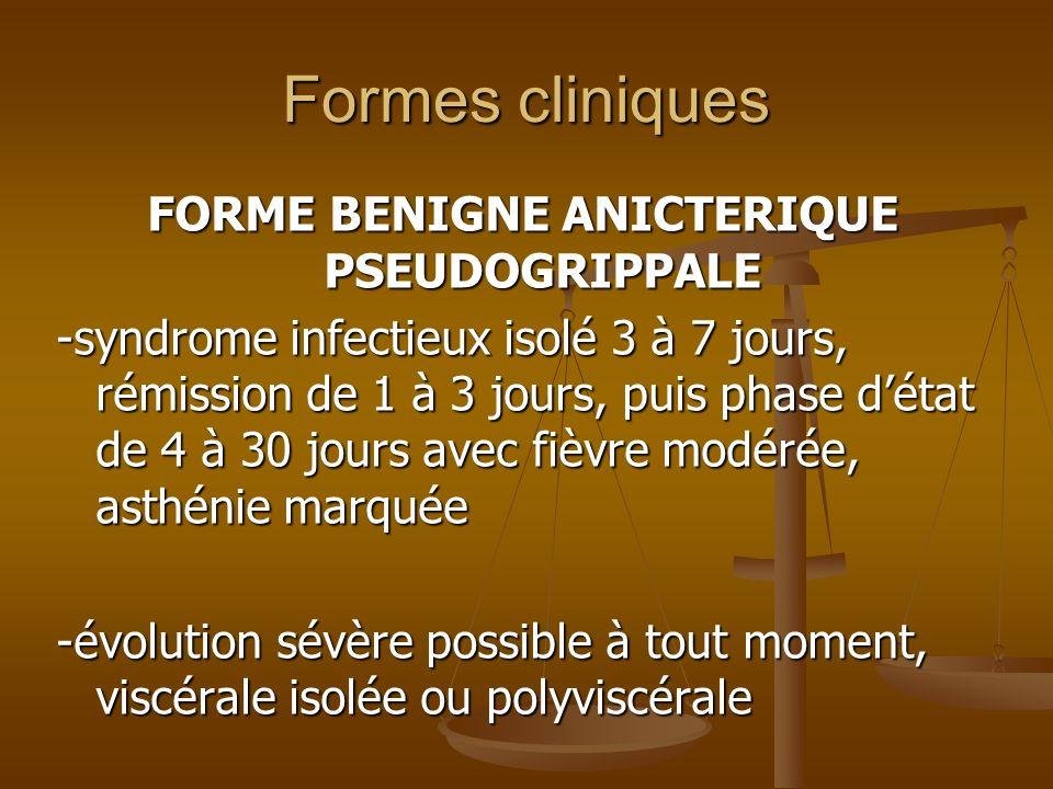 Formes cliniques MALADIE DE WEIL (FORME ICTERO-HEMORRAGIQUE) -Biphasique -Phase initiale: tableau septicémique (céphalées, fièvre élevée, prostration, troubles de la conscience) -défervescence vers le 5èjour -Deuxième phase: insuffisance rénale, hémorragies diffuses, atteinte hépatique (ictère flamboyant), rash cutané, signes méningés et myocardiques -Lictère disparaît entre le 15è et 25è jour avec une remontée thermique -Mortalité 15% à 40%