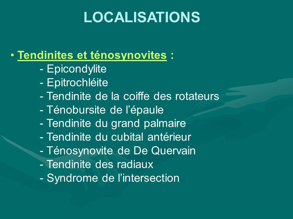 LOCALISATIONS Bursites et hygromas : - Rétro-olécranien - Sous-rotulien - Sous acromio-deltoïdien (pas de réparation) Syndromes canalaires : - Canal carpien - Gouttière épitrochlé-olécranienne - Loge de Guyon - Nerf radial au coude - Nerfs du grand dentelé, circonflexe et scapulaire
