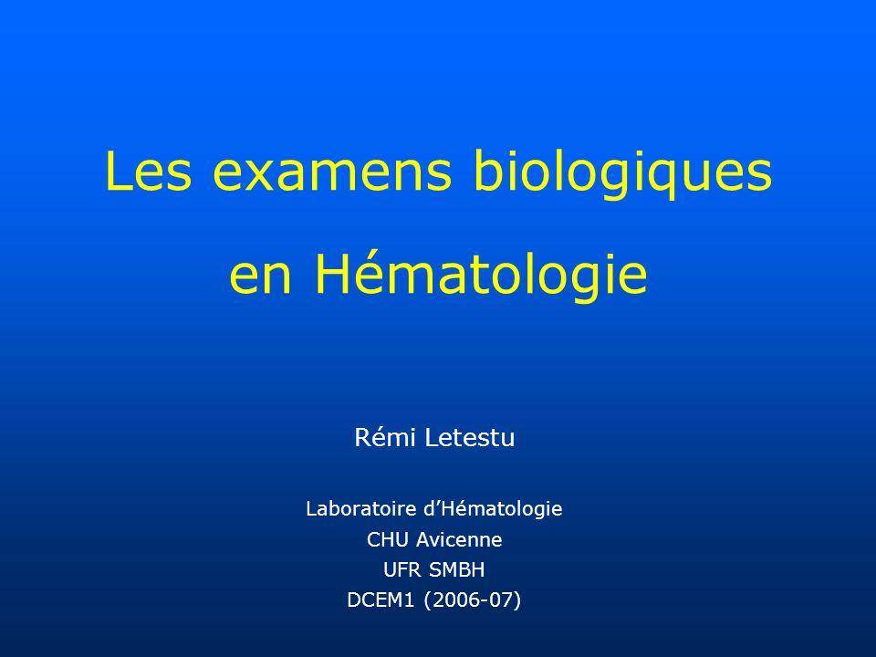 Les examens biologiques en Hématologie Rémi Letestu Laboratoire dHématologie CHU Avicenne UFR SMBH DCEM1 (2006-07)