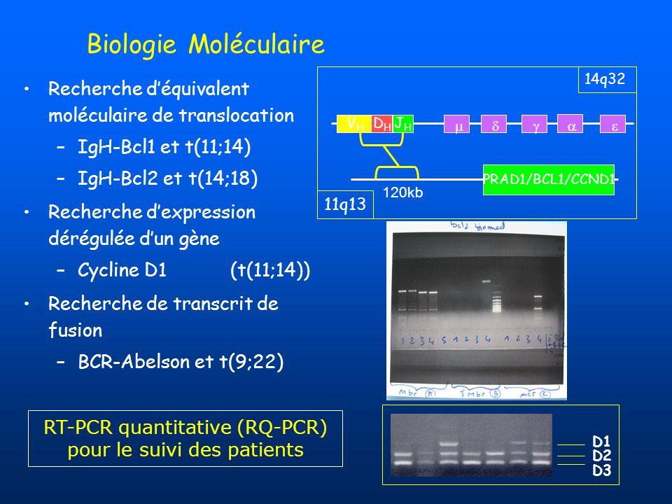Biologie Moléculaire PRAD1/BCL1/CCND1 14q32 11q13 VHVH DHDH JHJH 120kb Recherche déquivalent moléculaire de translocation –IgH-Bcl1 et t(11;14) –IgH-B