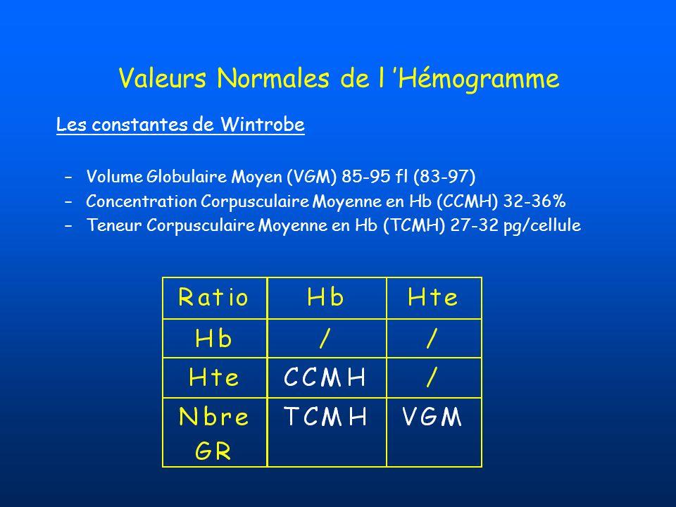 Valeurs Normales de l Hémogramme Les constantes de Wintrobe –Volume Globulaire Moyen (VGM) 85-95 fl (83-97) –Concentration Corpusculaire Moyenne en Hb