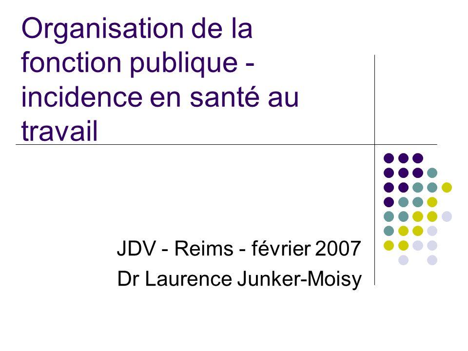 Organisation de la fonction publique - incidence en santé au travail JDV - Reims - février 2007 Dr Laurence Junker-Moisy