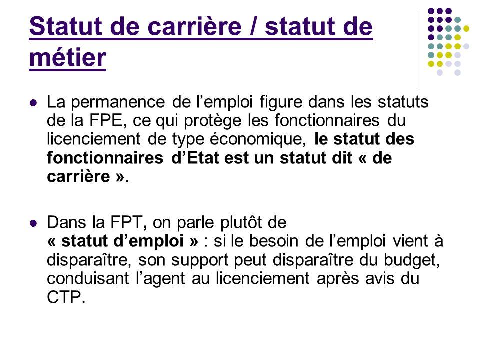 Statut de carrière / statut de métier La permanence de lemploi figure dans les statuts de la FPE, ce qui protège les fonctionnaires du licenciement de