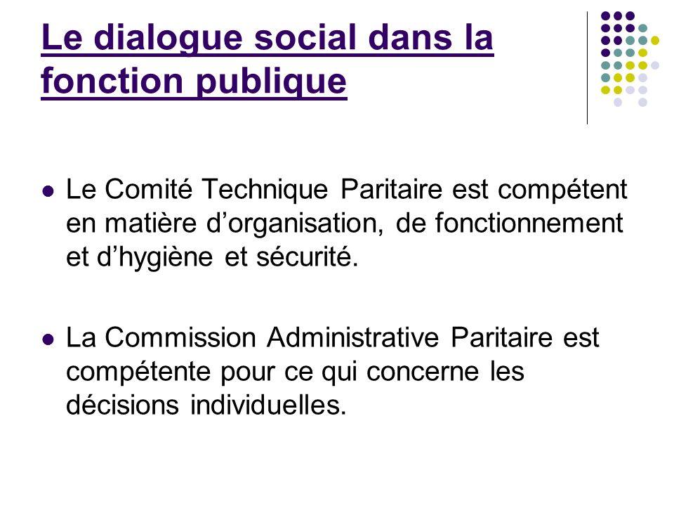 Le dialogue social dans la fonction publique Le Comité Technique Paritaire est compétent en matière dorganisation, de fonctionnement et dhygiène et sé