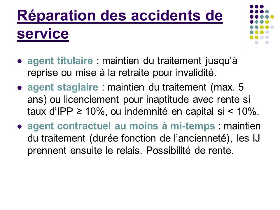 Réparation des accidents de service agent titulaire : maintien du traitement jusquà reprise ou mise à la retraite pour invalidité. agent stagiaire : m