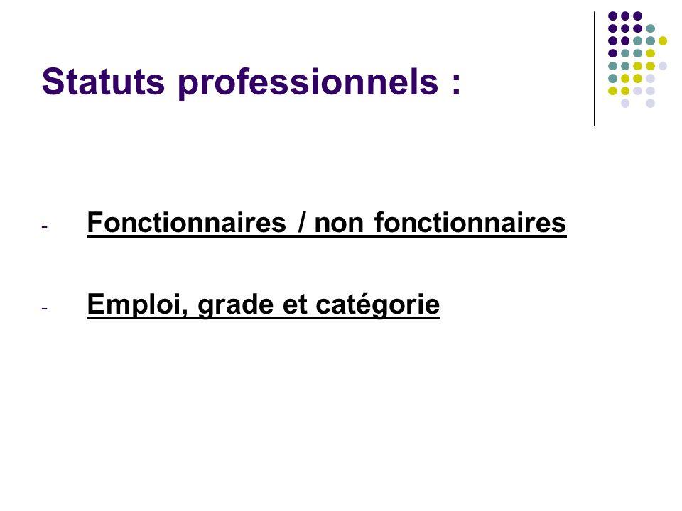 Statuts professionnels : - Fonctionnaires / non fonctionnaires - Emploi, grade et catégorie