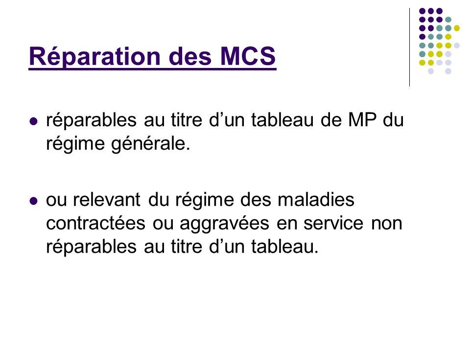 Réparation des MCS réparables au titre dun tableau de MP du régime générale. ou relevant du régime des maladies contractées ou aggravées en service no