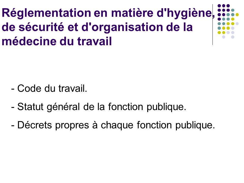 Réglementation en matière d'hygiène, de sécurité et d'organisation de la médecine du travail - Code du travail. - Statut général de la fonction publiq