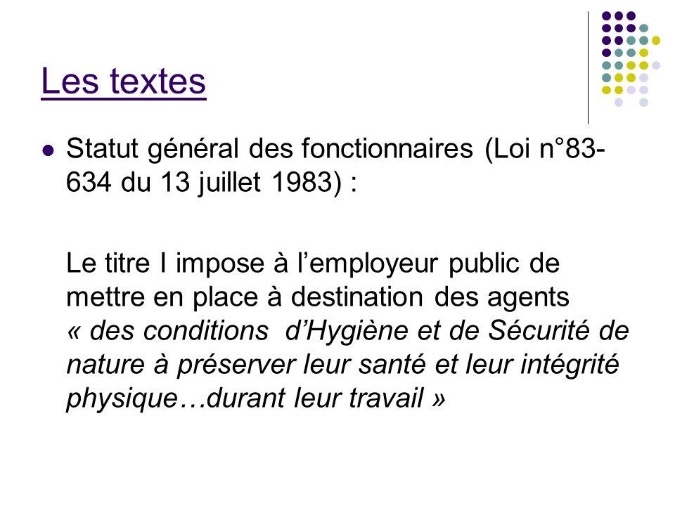 Les textes Statut général des fonctionnaires (Loi n°83- 634 du 13 juillet 1983) : Le titre I impose à lemployeur public de mettre en place à destinati