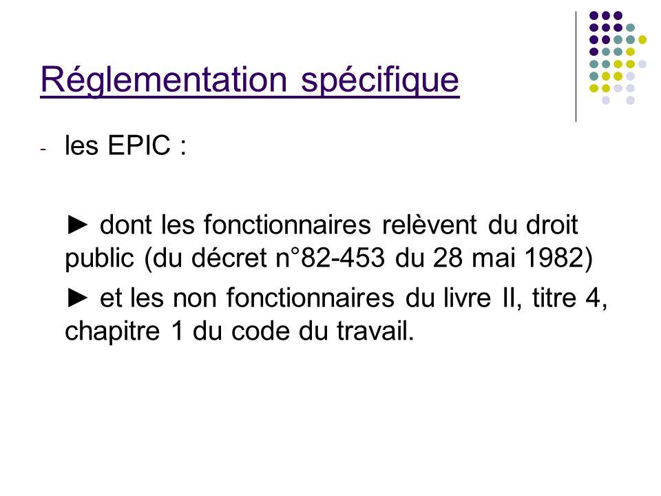 Réglementation spécifique - les EPIC : dont les fonctionnaires relèvent du droit public (du décret n°82-453 du 28 mai 1982) et les non fonctionnaires