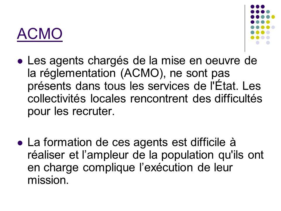 ACMO Les agents chargés de la mise en oeuvre de la réglementation (ACMO), ne sont pas présents dans tous les services de l'État. Les collectivités loc