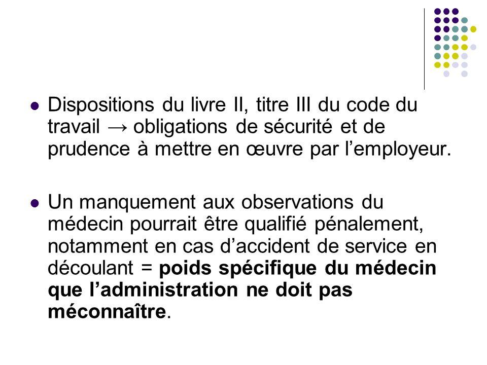 Dispositions du livre II, titre III du code du travail obligations de sécurité et de prudence à mettre en œuvre par lemployeur. Un manquement aux obse