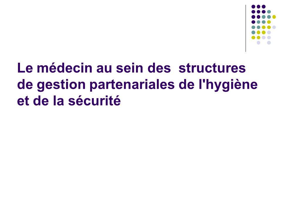 Le médecin au sein des structures de gestion partenariales de l'hygiène et de la sécurité
