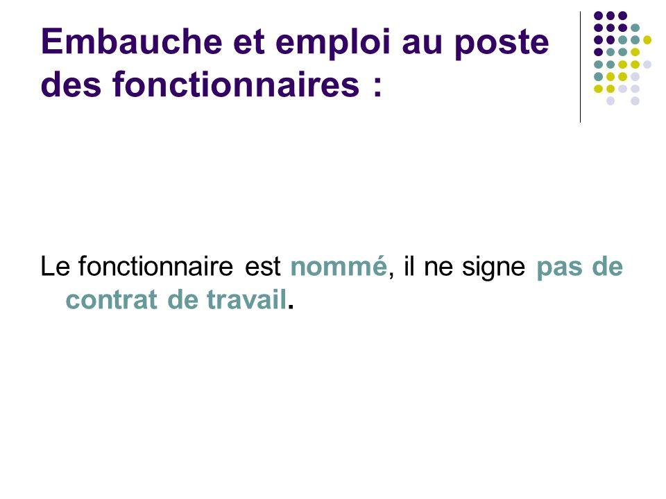 Embauche et emploi au poste des fonctionnaires : Le fonctionnaire est nommé, il ne signe pas de contrat de travail.
