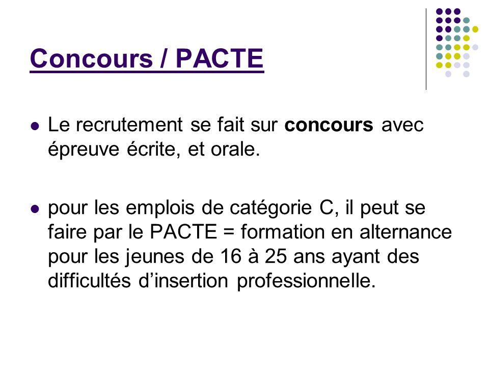 Concours / PACTE Le recrutement se fait sur concours avec épreuve écrite, et orale. pour les emplois de catégorie C, il peut se faire par le PACTE = f