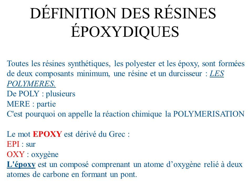 Toutes les résines synthétiques, les polyester et les époxy, sont formées de deux composants minimum, une résine et un durcisseur : LES POLYMERES. De