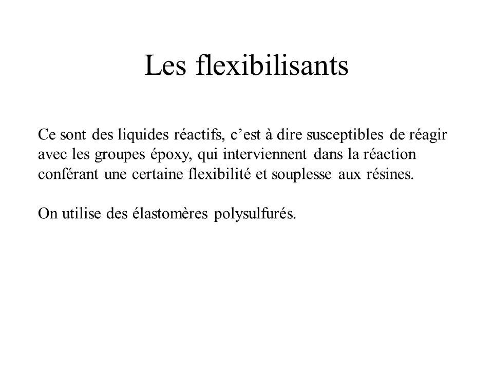 Les flexibilisants Ce sont des liquides réactifs, cest à dire susceptibles de réagir avec les groupes époxy, qui interviennent dans la réaction confér