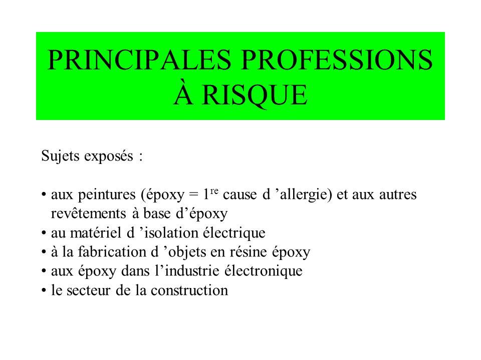 PRINCIPALES PROFESSIONS À RISQUE Sujets exposés : aux peintures (époxy = 1 re cause d allergie) et aux autres revêtements à base dépoxy au matériel d