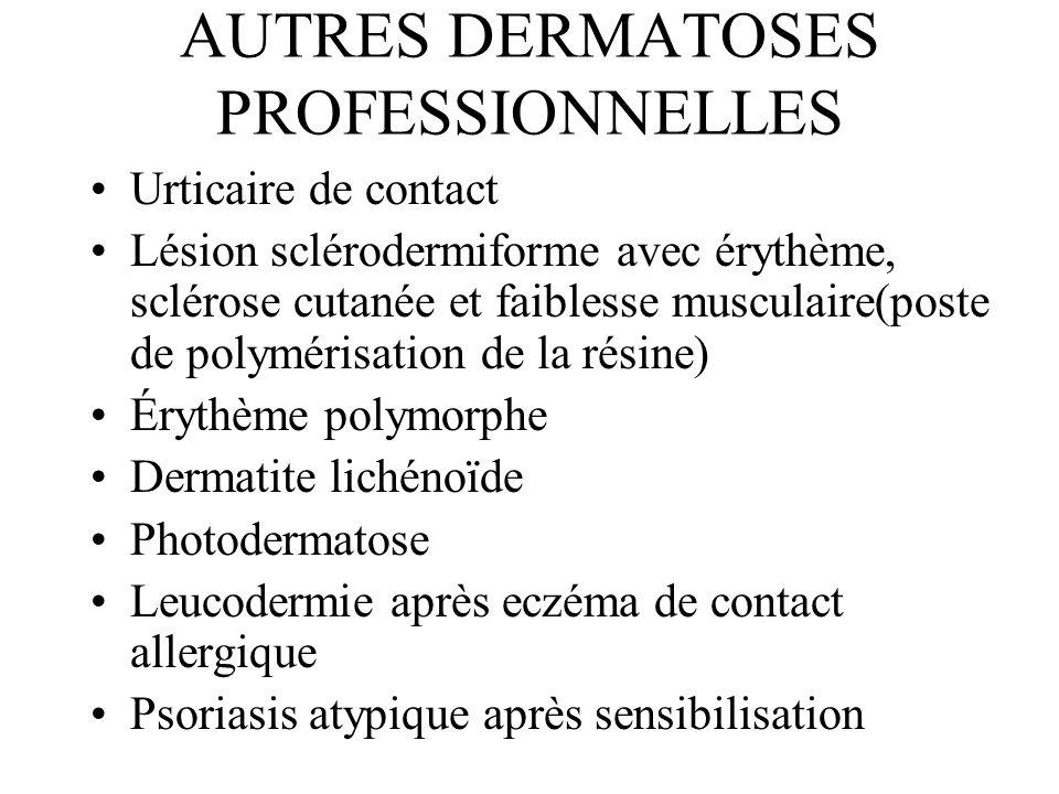 AUTRES DERMATOSES PROFESSIONNELLES Urticaire de contact Lésion sclérodermiforme avec érythème, sclérose cutanée et faiblesse musculaire(poste de polym