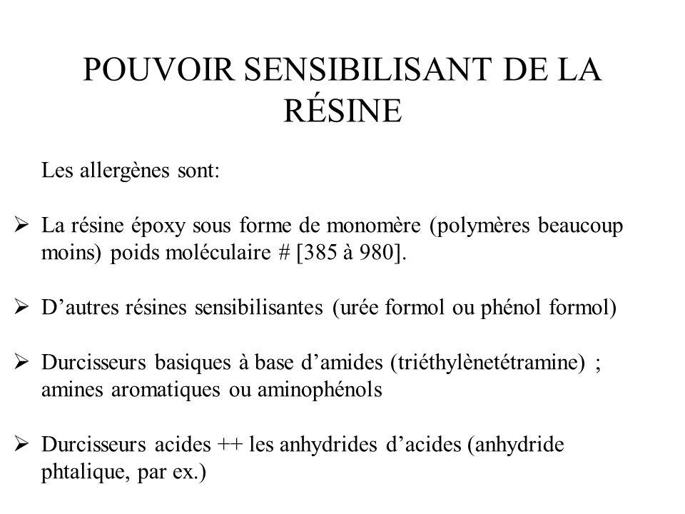 POUVOIR SENSIBILISANT DE LA RÉSINE Les allergènes sont: La résine époxy sous forme de monomère (polymères beaucoup moins) poids moléculaire # [385 à 9