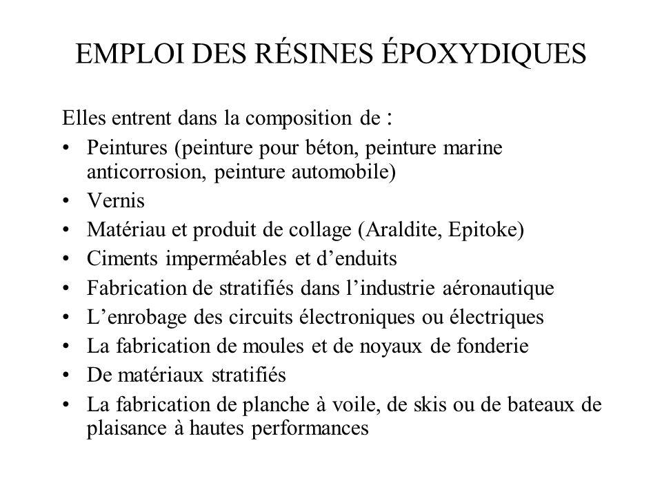 PRINCIPALES PROFESSIONS À RISQUE Sujets exposés : aux peintures (époxy = 1 re cause d allergie) et aux autres revêtements à base dépoxy au matériel d isolation électrique à la fabrication d objets en résine époxy aux époxy dans lindustrie électronique le secteur de la construction