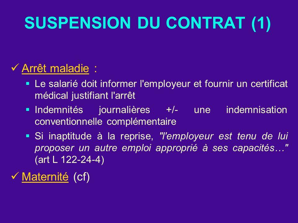 SUSPENSION DU CONTRAT (1) Arrêt maladie : Le salarié doit informer l'employeur et fournir un certificat médical justifiant l'arrêt Indemnités journali