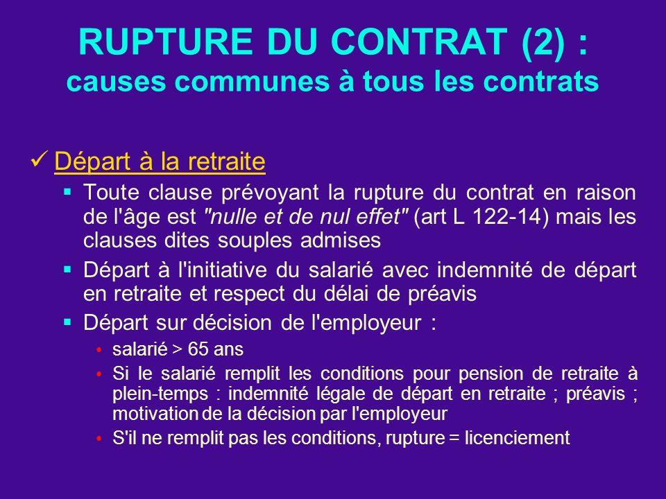 RUPTURE DU CONTRAT (2) : causes communes à tous les contrats Départ à la retraite Toute clause prévoyant la rupture du contrat en raison de l'âge est