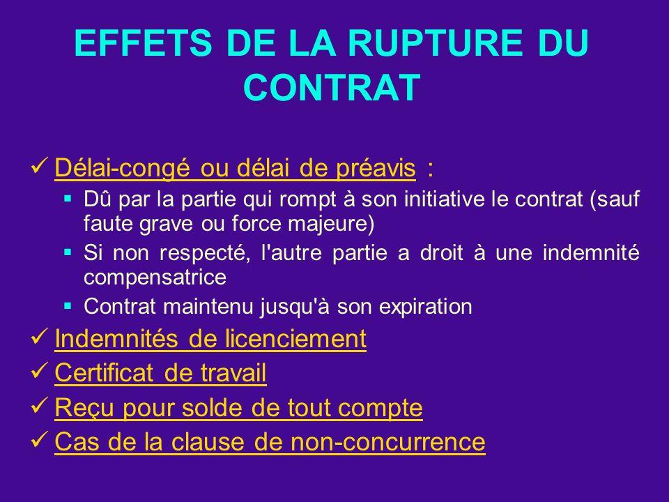 EFFETS DE LA RUPTURE DU CONTRAT Délai-congé ou délai de préavis : Dû par la partie qui rompt à son initiative le contrat (sauf faute grave ou force ma