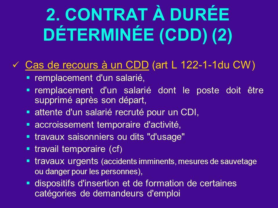 2. CONTRAT À DURÉE DÉTERMINÉE (CDD) (2) Cas de recours à un CDD (art L 122-1-1du CW) remplacement d'un salarié, remplacement d'un salarié dont le post