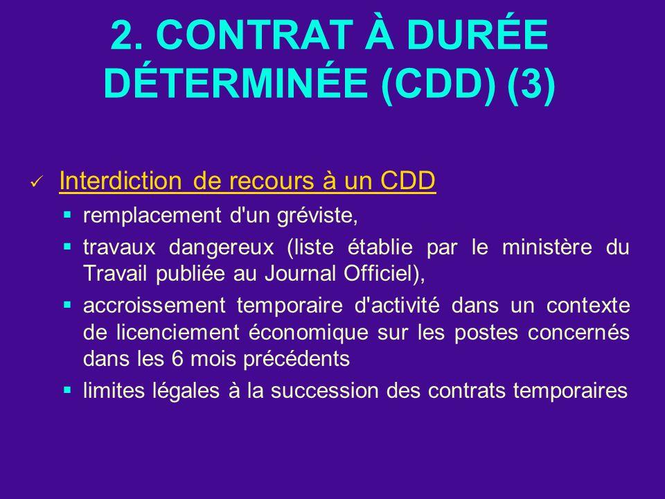 2. CONTRAT À DURÉE DÉTERMINÉE (CDD) (3) Interdiction de recours à un CDD remplacement d'un gréviste, travaux dangereux (liste établie par le ministère