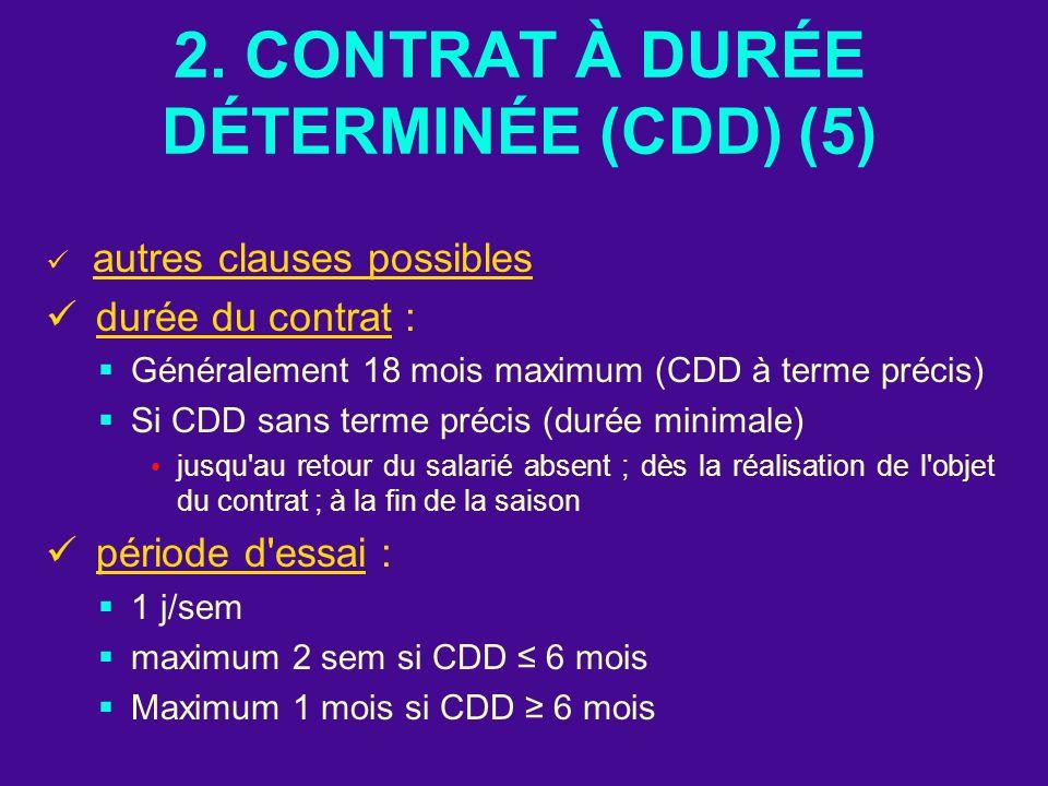 2. CONTRAT À DURÉE DÉTERMINÉE (CDD) (5) autres clauses possibles durée du contrat : Généralement 18 mois maximum (CDD à terme précis) Si CDD sans term