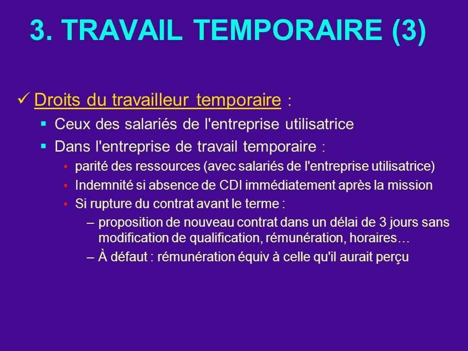 3. TRAVAIL TEMPORAIRE (3) Droits du travailleur temporaire : Ceux des salariés de l'entreprise utilisatrice Dans l'entreprise de travail temporaire :