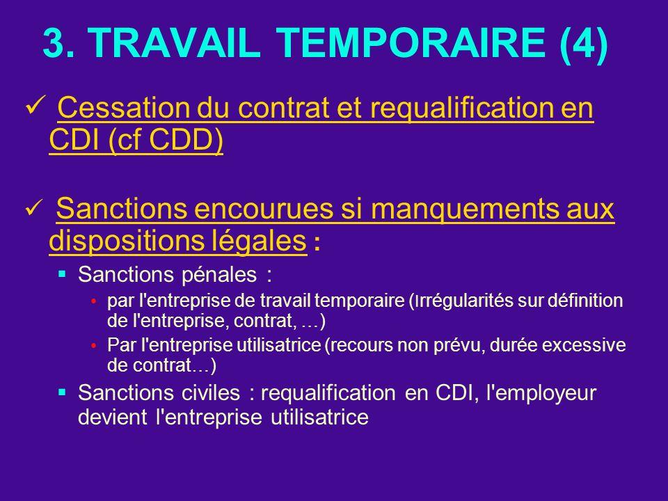 3. TRAVAIL TEMPORAIRE (4) Cessation du contrat et requalification en CDI (cf CDD) Sanctions encourues si manquements aux dispositions légales : Sancti